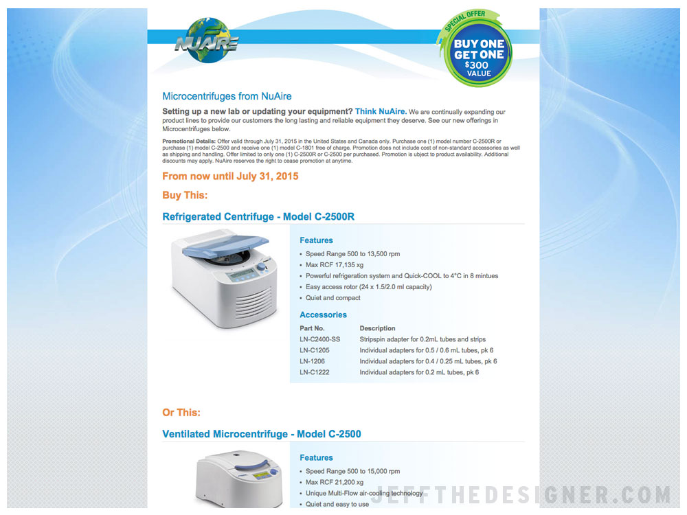NuAire Centrifuge Landing Page