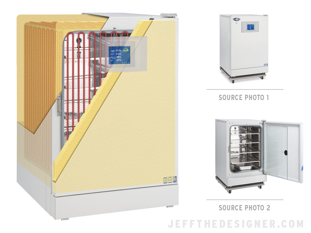 C02 Incubator Illustration Showing Insulation and Heating Elements