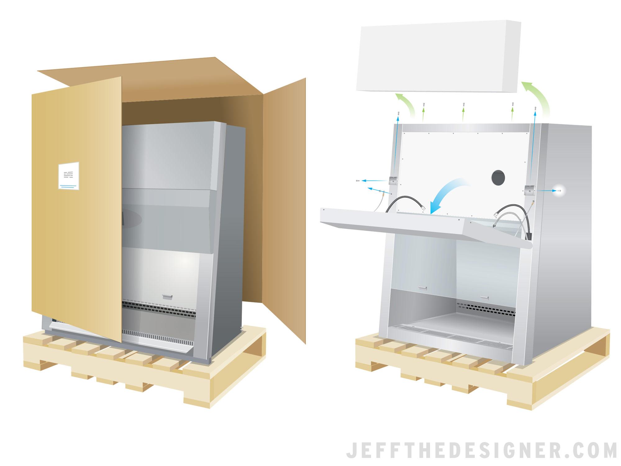 Biological Safety Cabinet Shipping Illustration