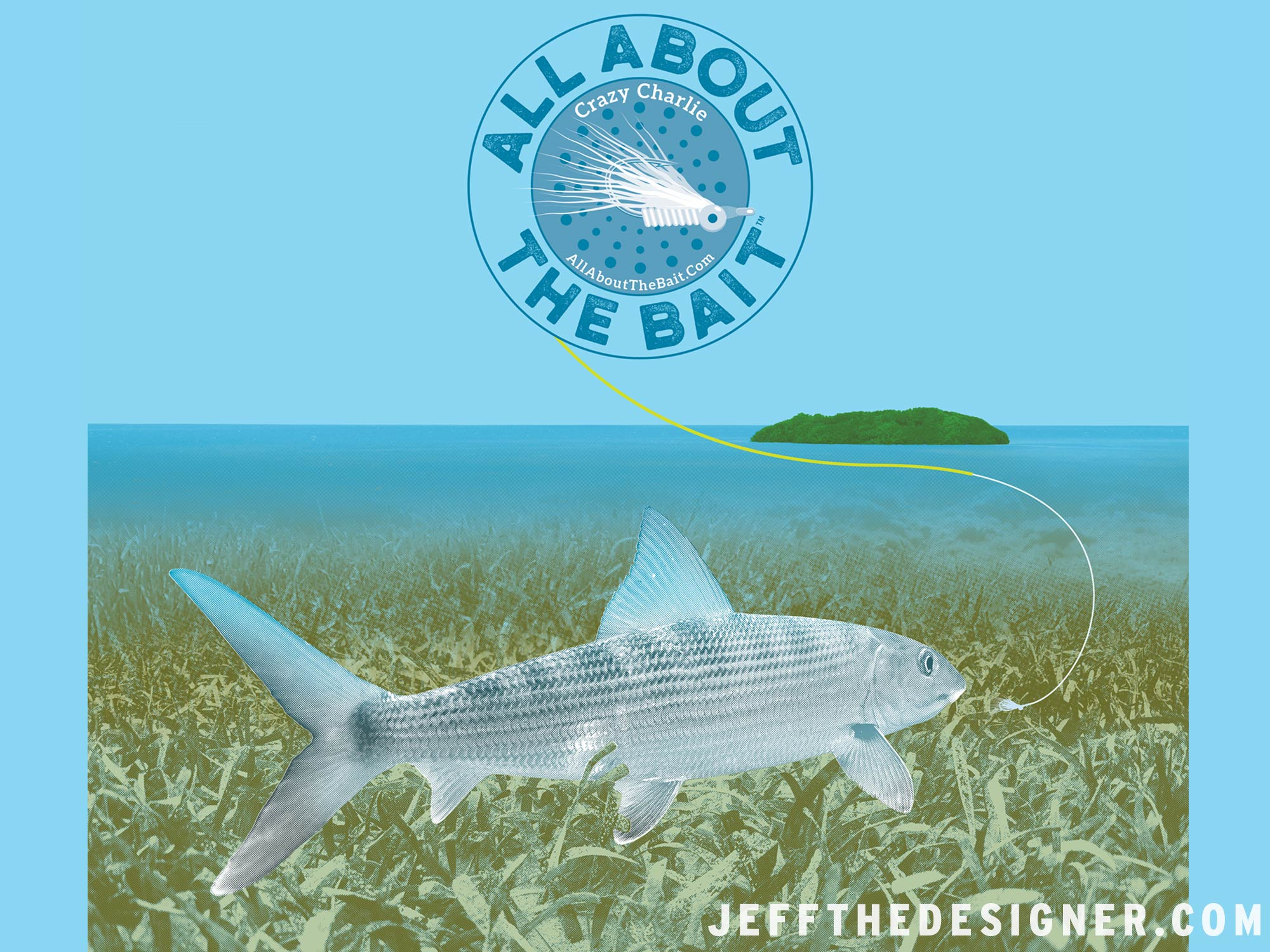 Detail of Shirt Artwork - Bonefish Chasing a Crazy Charlie Fly on the Florida Keys Flats