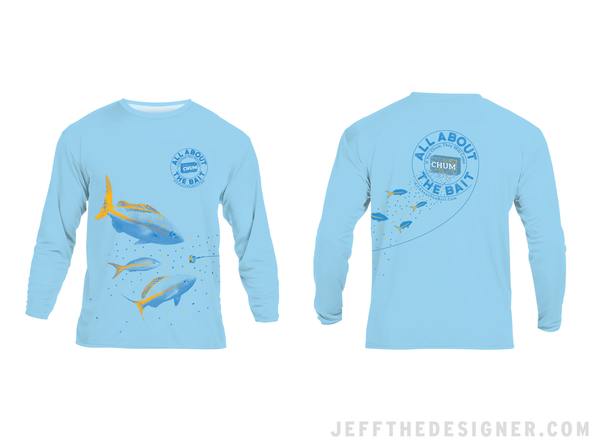 Fishing Shirt Design - Yellowtail Snappers on the Shirt Back Feeding on Chum Flowing from the Shirt Front