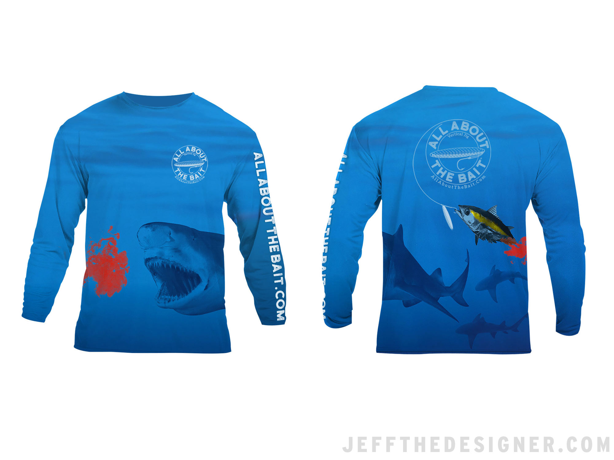 Fishing Shirt Design - Tuna Jigging With Sharks