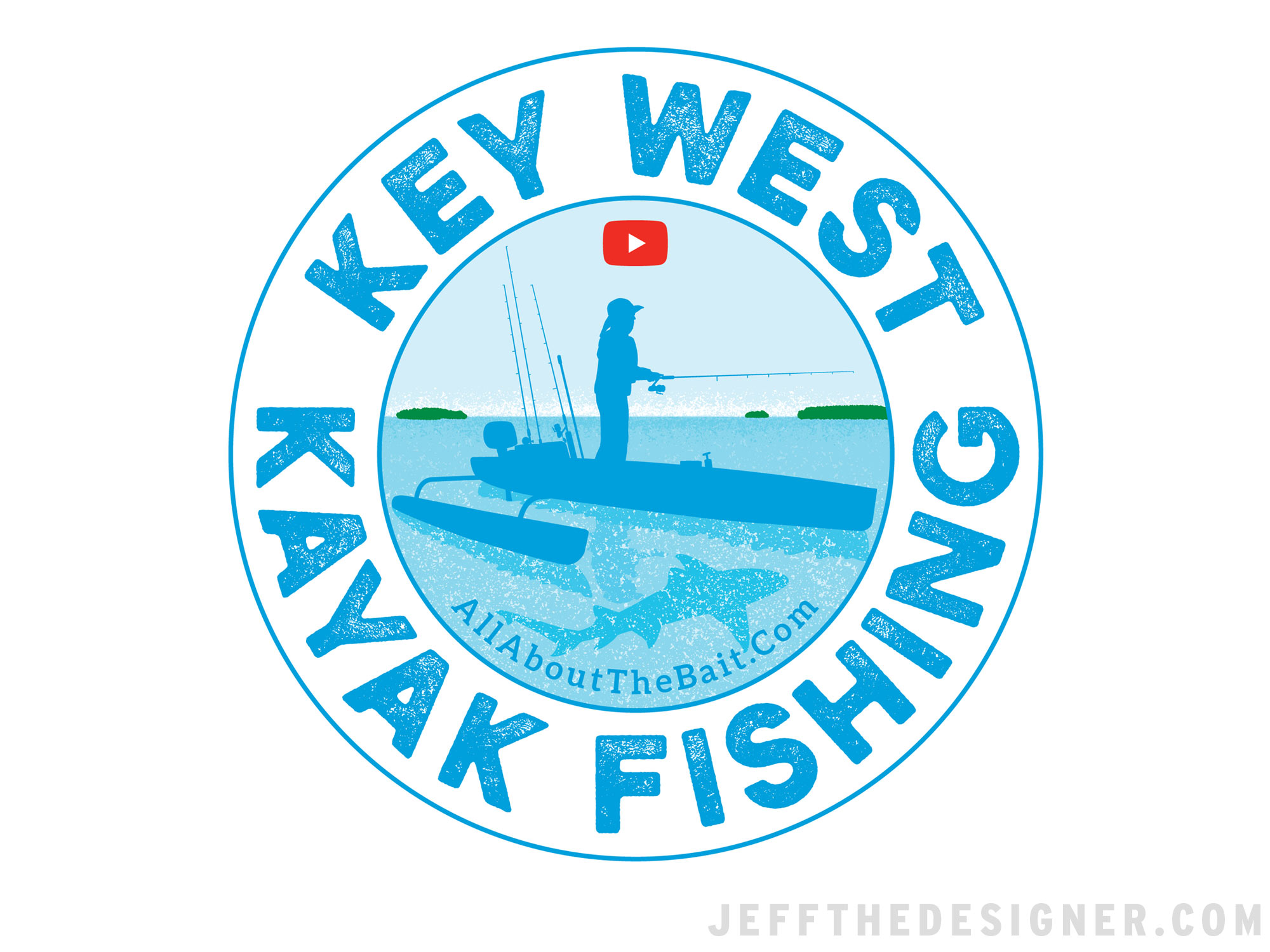 Key West Kayak Fishing Logo Sticker Design