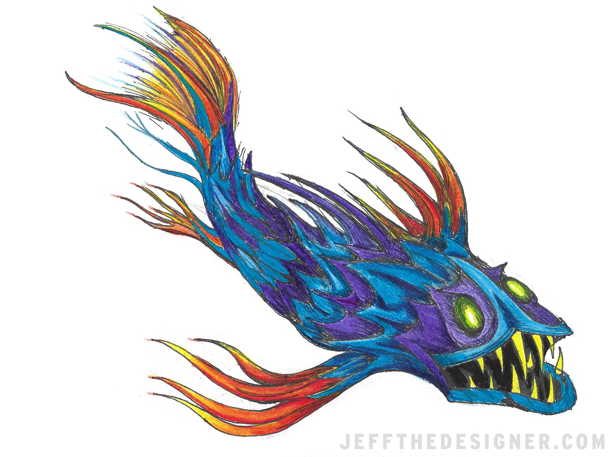 Spooky Fish Hand Drawn Colored Pencils JeffTheDesigner