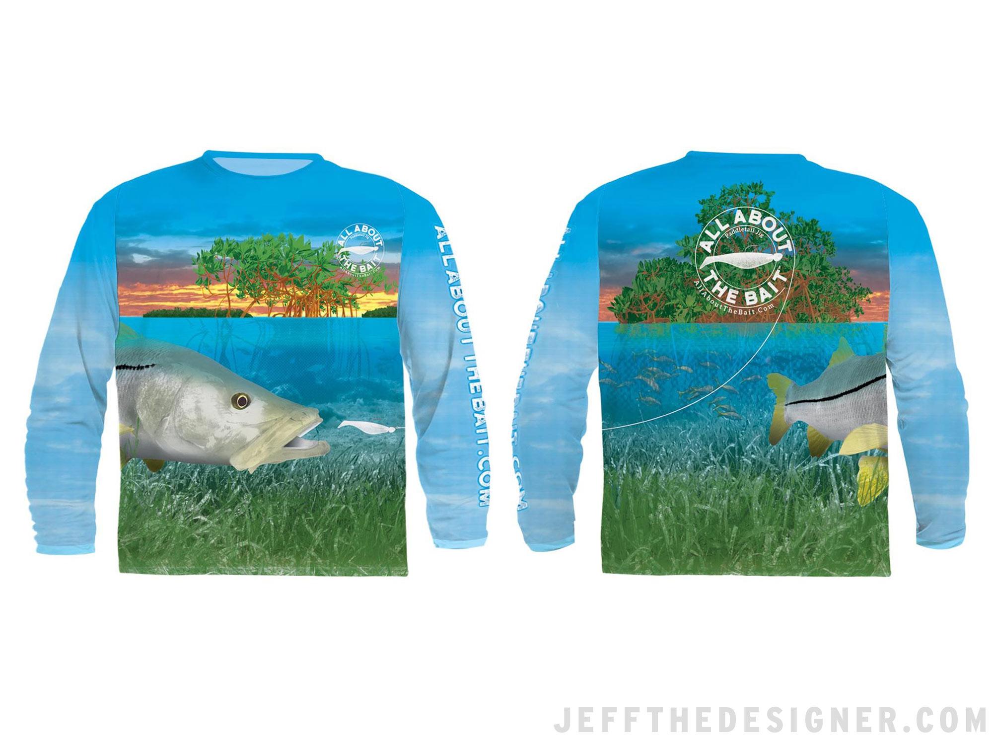 JeffTheDesigner-dot-Com Fishing Shirt Design - Snook and Paddletail Jig