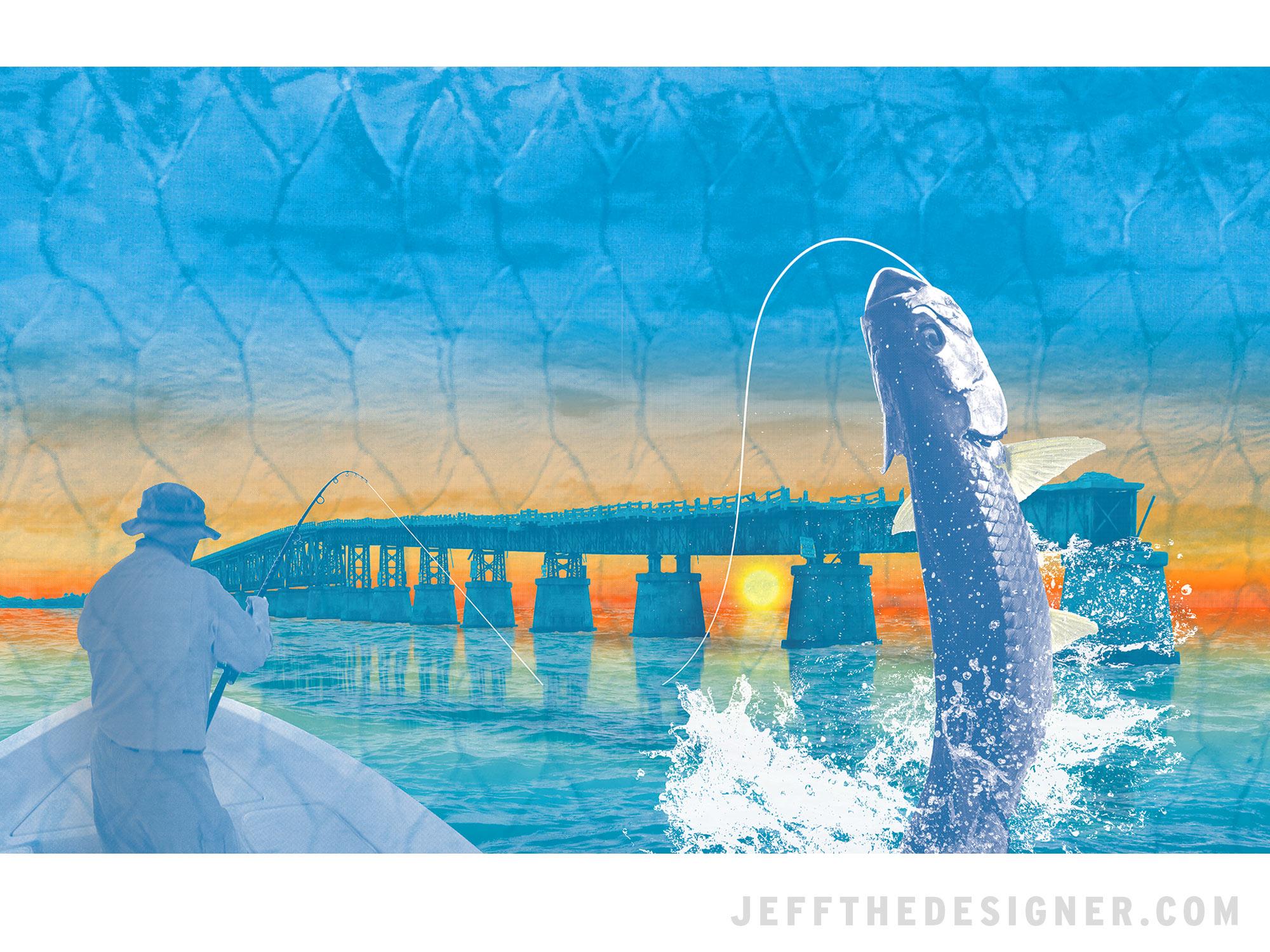 Florida Keys Bahia Honda Bridge Tarpon Fishing Illustration