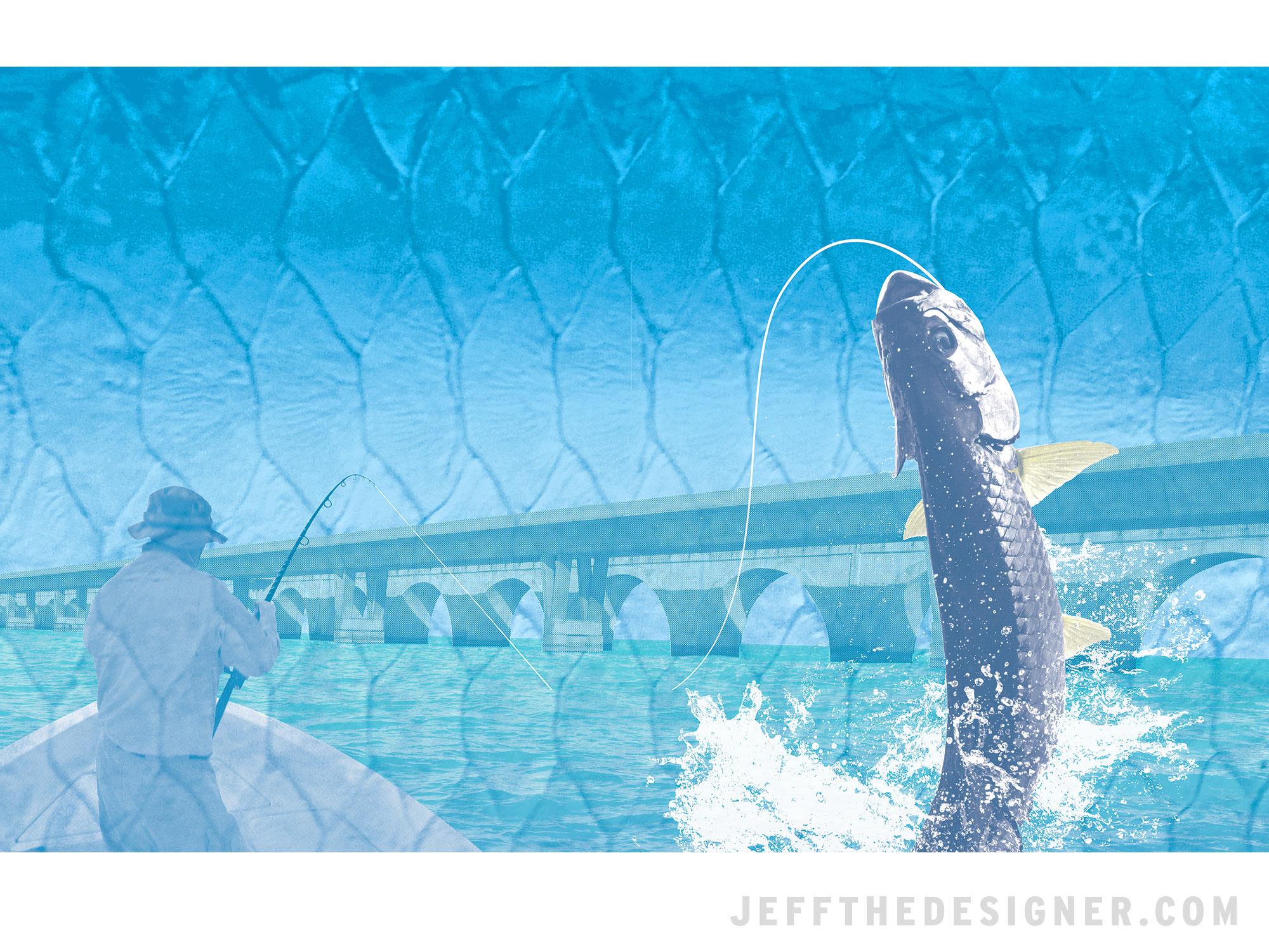 Florida Keys Long Key Bridge Tarpon Fishing Illustration