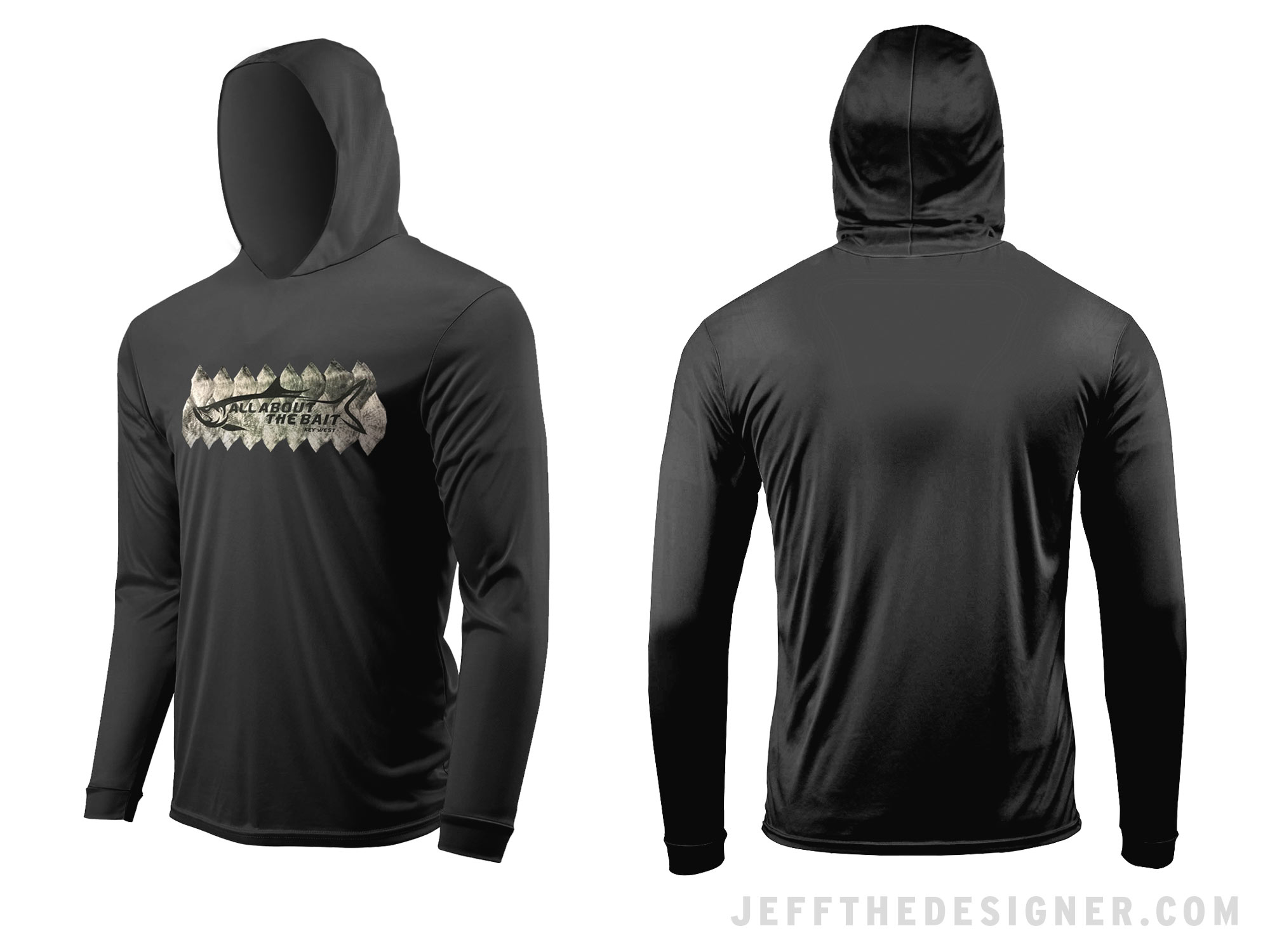 Black Hooded Long-Sleeve UV Protection Fishing Shirt with Silver Tarpon Logo on the Front